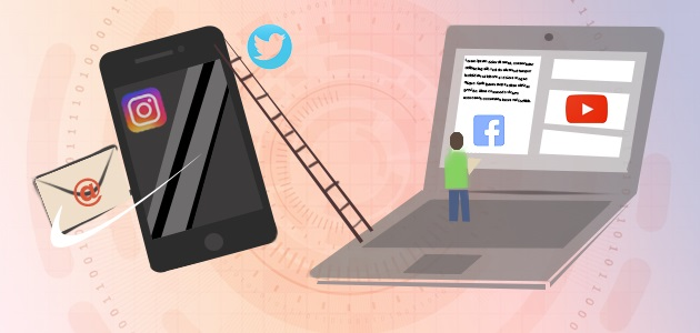 Imagen con figura humana, iconos redes sociales, ordenador portátil, escalera y teléfono móvil.