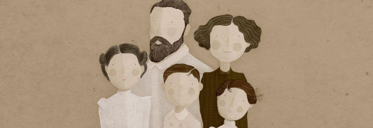 Imagen cartel del Museo Sorolla de la actividad visita en familia padre, madre y tres hijos